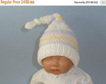 50% OFF SALE Digital file pdf download knitting pattern   Baby Candy Stripe Topknot Pixie Hat pdf knitting pattern