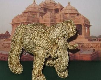 50% OFF SALE Instant Digital pdf download madmonkeyknits Golden Indian Elephant Toy pdf knitting pattern