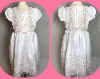 Okie Dokie Embroidered Party Dress - Flower Girl in Organza Over Satin with Crinoline Ruffle Underskirt - Size 4
