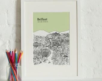 Personalised Belfast Print | Belfast Gift | First Anniversary Gift | Engagement Gift | Unique Wedding Gift | Valentines Day Gift | Belfast