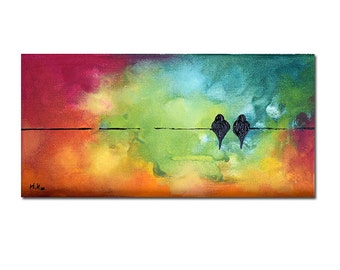 """Original Painting Birds on a Wire Abstract Valentines Day Wedding Art Rainbow Painting 5x10"""""""