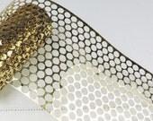 Sequin Waste, Gold Punchinella, Polka dot stencils 4yds
