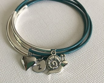 Snail charm,layered bracelets,Stacked boho,bracelet set,Leather bangles,Boho jewelry,Personalized, Monogram,Stacking bangles, BFF bracelets