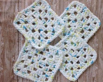Crochet Cotton Granny Square Coasters, Mug Rugs, Colorful Cotton Coasters, Turquoise Blue, Lime Green, Soft Yellow, White Boho Crochet Home