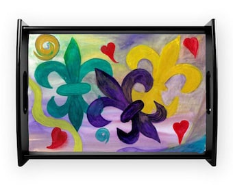 Mardi Gras fleur de lis serving tray from my art, available in 2 sizes