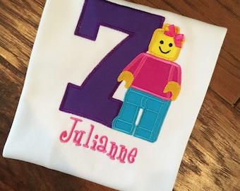 Girls Lego Birthday, Girls Lego shirt