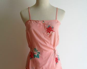 Vintage 2 pc Silk Peach Floral Sundress