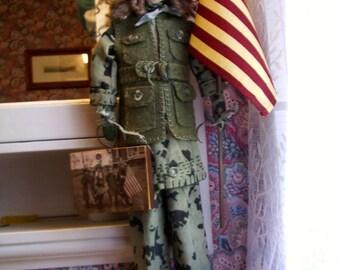 """Handmade Primitive  Doll  26""""-  Patriotic G I JANE"""