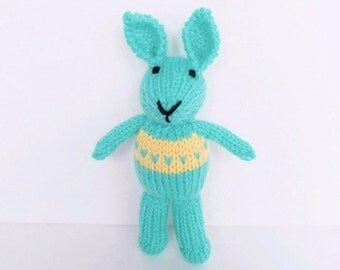 Hand Knit Little Bunny, Small Stuffed Animal Plush Toy, New Infant Baby Shower Gift, Aqua Blue Rabbit, Child Nursery Toy 8""