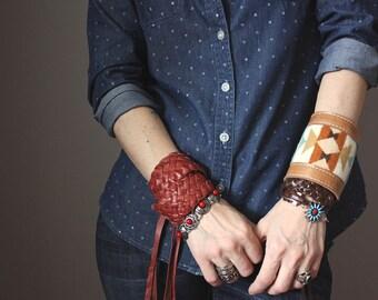 Wool and leather bracelet, Southwestern cuff, Leather Wrap bracelet, braided bracelet, multi strand cuff, boho bracelet, rustic bracelet