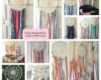 """Dream Catcher for Party and Room Decor.  YOU choose the Colors to Match any Party Theme or Room Decor. Handmade 12"""" diameter dreamcatcher"""
