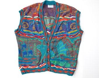 COOGI Australia VEST Mens Large Rainbow Nautical Geometric Coogi Multicolor Bold Multi Colorful COOGI Button Sweater Vest