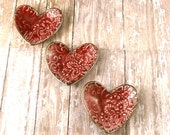 THREE Ceramic Ring Dishes - Mother's Day - Red Pottery Heart Trinket Dish - Decorative Pottery Dish - 280