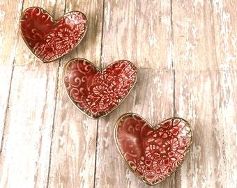THREE Ceramic Ring Dish Valentine's Day Red Porcelain Heart Trinket Dish - 279
