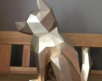 Sit Puppy! papercraft. You get a PDF digital file templates and instructions for this DIY (do it yourself) modern paper sculpture.