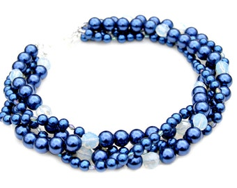 Royal Blue STATEMENT Necklace Opal Sparkle Swarovski Crystals Pearls Multi Strand Layered Couture Classic Fashion Red Carpet by Mei Faith