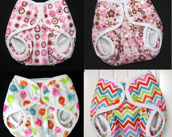 4 One Size Diaper Covers for Baby Girl,  Front Snap, Gusseted PUL Waterproof Print PUL Cloth Diaper Covers