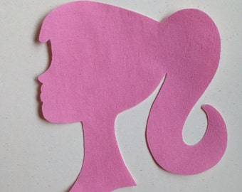 1 Fabric Iron On Barbie Style Silhouette Applique
