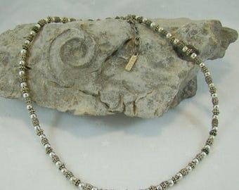 Summer Sale Napier Modern Necklace Nice Quality Silver Tone Smooth & Textured Beads Slim Design Napier Designer Signed