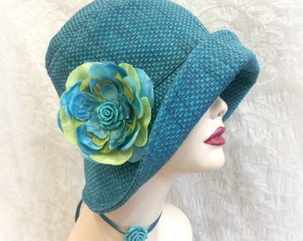 Women's Cloche Hat -  Teal Fabric Hat  - Vintage Cloche Hat - Downton Abbey Cloche - Ready to Ship - Size Small - Hats Handmade in USA
