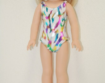 """Swimsuit for 14.5"""" Wellie Wishers or Melissa & Doug Doll Clothes white metallic tkct1100"""