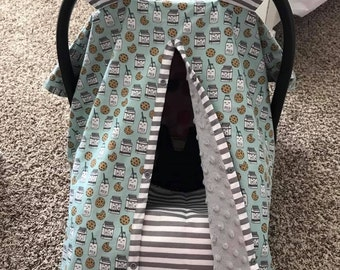 MOD Baby Carseat Covers - Gender Neutral - Milk n Cookies - Gray Minky - Shower Gift - Infant Seat Cover - Spoonflower
