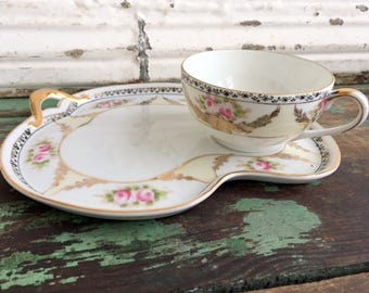 Vintage Teacup Tea Cup and snack Dessert Tray Noritake Gold GIlt Pink Roses Hand Painted