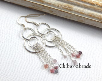 Sterling Silver Gemstone Earrings, Faceted Spinel Earrings