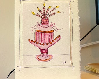 """Birthday Cake In Pink On A Platter Watercolor Original Card """"Big Card"""" 5x7 With Matching Envelope  betrueoriginals"""