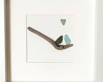 Genuine Irish Sea Glass Wall Art - Love Birds