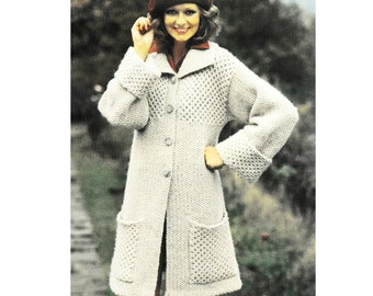 Vintage Knitting Pattern  Honeycomb Textured Coat  Chunky Bulky Jacket Cardigan Moss Stitch Seed Stitch INSTANT DOWNLOAD PDF