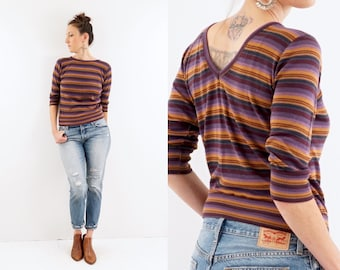 vintage STRIPED 70s cropped FALL v neck top S-M