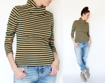 SALE vintage 70s striped TURTLENECK fitted sweater top M-L