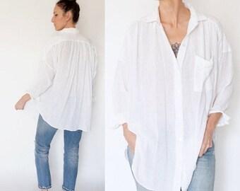 SPRING SALE vintage 90s white GAUZE oversize blouse S-M
