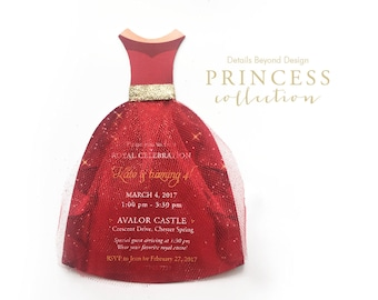 Princess Collection - Red and Gold dress Invitation with Glitter Tulle skirt & gold glitter waistband - Set of 16