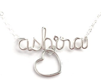Custom Name Necklace with large heart charm. Personalized Sterling Silver Name Necklace with large heart. Valentine Necklace.