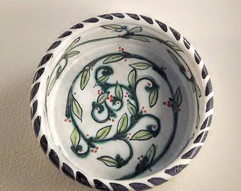 Pet bowl - hand painted ceramic - majolica pottery - wheel thrown pottery - kitten or puppy bowl
