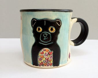 Small Bear Mug, Black Bear Full of Love Blue Coffee Mug or Tea Mug with Hearts, Woodland Animals, Animal Pottery