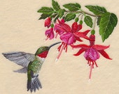 HUMMINGBIRD and FLOWERS EMBROIDERY on Ladies' Tee or Sweat by Rosemary