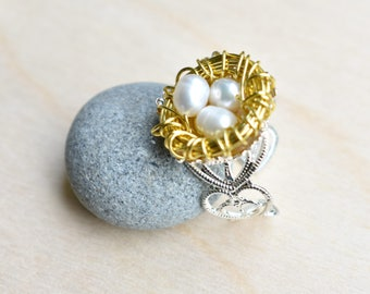 Nest Ring, Bird Nest Ring, Nest Egg Ring, Bird Ring, Spring Jewelry, Egg Nest, Nest, Mother's Day Jewely, Bird's Nest Wire Wrap Ring