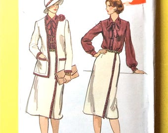 Uncut Vogue 9172 Wrap Skirt, Cardigan, Tie Collar Blouse, Misses Jacket, Skirt and Blouse 1970s Vintage Sewing Pattern  Bust 36 inches
