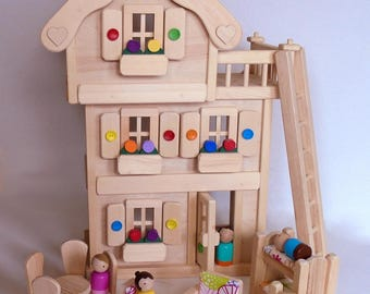 Wooden Peg Doll House, Natural Wood Toy Dollhouse Furniture, Handmade Waldorf Gender Neutral Kids Birthday gift, Jacobs Wooden Toys