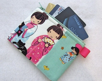 Kawaii Japanese Girls Womens Credit Card Case Zippered Coin Purse Wallet Business Card Holder Fabric Alexander Henry Fabric A Chan Turquoise