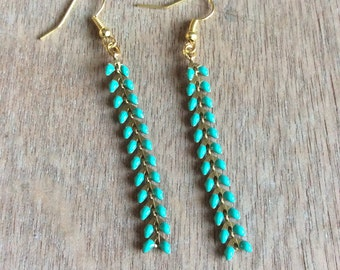 Turquoise zipper earrings