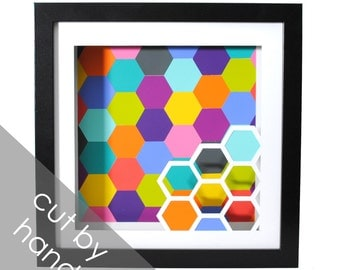 HEXAGON shadowbox- made from paint swatches, paper cutting, honeycomb, modern decor, interior design, bold colors, colorful, unique