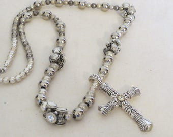 Filigree Silver and Rhinestones with Cross Pendant - Necklace and earring set
