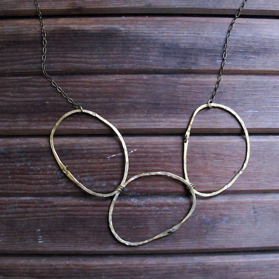 River Rocks Necklace - Large Circle Necklace - Brass Statement Necklace - Rustic Circle Trio Necklace