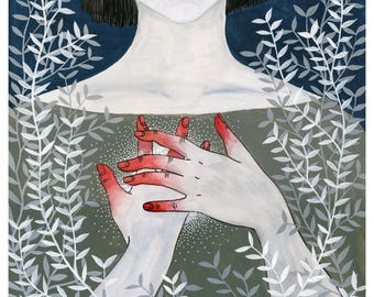 Heart on Fire   Digital Print of Original Illustration