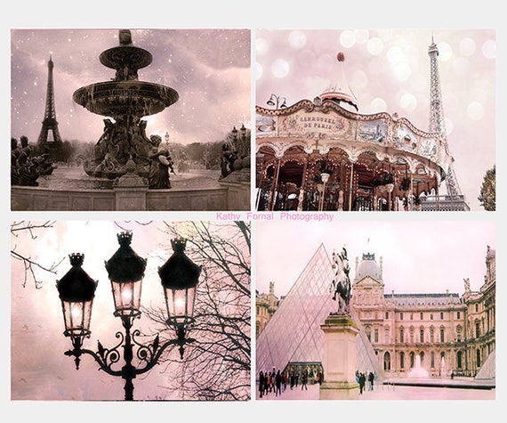Paris Photography, Paris Prints, Paris Note Cards, Paris Pink Print Set, Paris Eiffel Tower Carousel Wall Decor, Paris Pink Wall Art Decor
