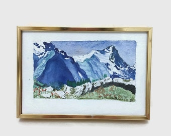 Vintage Small Watercolor Painting - Landscape - Glacial Mountain Scene - Blue and White